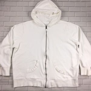 Columbia White Sweater Sz 2X Hooded Full ZIP Vtg.